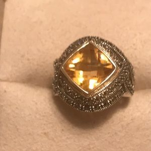 Vintage Sterling Silver Citrin Ring